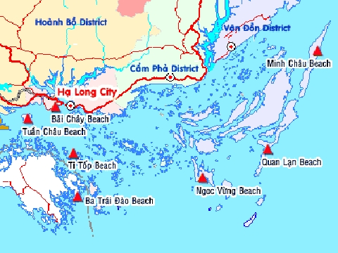 Halong Bay beach map